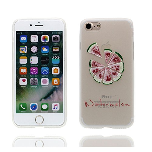 Custodia iPhone 7, Silicone trasparente Cartoon Stile del modello Case Con materiale di alta qualità & morbido & & Ultra sottile iPhone 7 copertura 4.7 Graffi Prova / anguria originale anguria originale