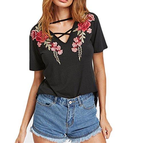 Huihong Damen Sommer T Shirt V Ausschnitt Cross Bandage Front Oberteile Floral Bestickt Kurzarm Bluse Teenager Elegantes Hemd (S, Schwarz) (Knopf-front Leichtes)
