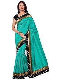 Aaradhya Fashion Women's Bhagalpuri Solid Saree With Blouse Piece