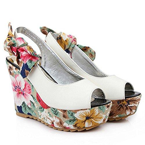 TAOFFEN Femme Mode Fleur Peep Toe A Enfiler Talons Hauts Compenses Sandales 757 blanc