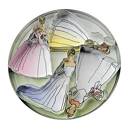 Set von 4 – Braut-Ausstechformen, Hochzeitskleid-Form, runde Vorratsdose – #1814
