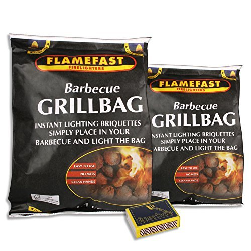 2 x 1.4KG Flamefast� BBQ Grill Bag Instant Light The Bag Charcoal Briquettes & Tigerbox� Safety Matches