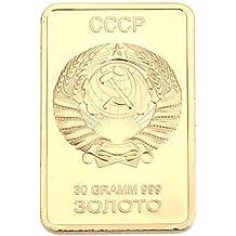 Rosepoem Moneda de recuerdo Unión Soviética 24K chapado en oro Regalo Art Collectible Decoración
