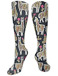 83432665e9 Shaggy Rainbow Llamas Hiking Trekking Socks Casual Knee High Socks for  Running