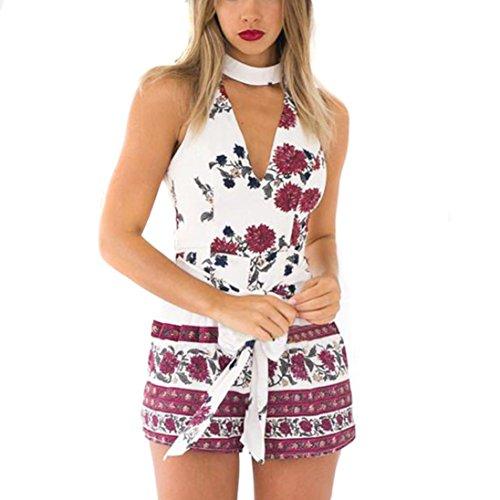 Btruely Jumpsuit Damen Kurze Elegant Overall V-Ausschnitt Sommerkleid Sommer Playsuit ärmellos Overall Boho Drucken Strandkleid Causal Shorts (M, Weiß)