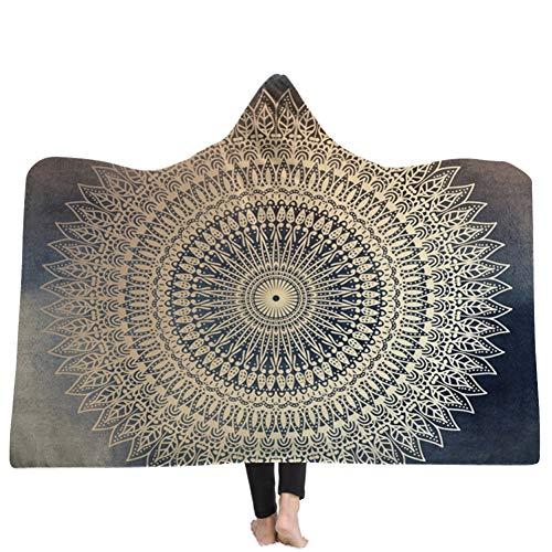 Mandala Hoodie Blanket Fleece Bohemia TV-Spiel Handy Flauschige Decke Teppich Handtuch Umhang für Kinder und Erwachsene (Tv-teppich)