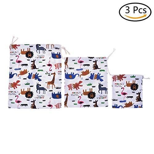 yixuan 3Pack Baumwolle Cartoon bedruckt Drawstring Storage Tasche Baumwolle Leinen Staubbeutel Schuh Stofftaschen Kordelzug (Canvas-baumwolle-schuhbeutel)