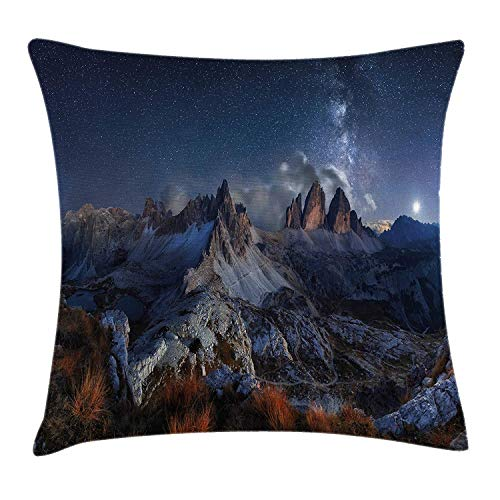 Night Throw Pillow Cushion Cover, Dolomites Italy Alps Mountain Landscape with Starry Night Sky Milky Way, Decorative Square Accent Pillow Case, 18 X 18 inches, Dark Blue Redwood Tan -
