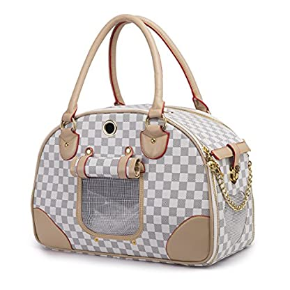 YiHao Pet Travel Carrier Airline Approve Lightweight 1.3 kg Handbags Tote bags for Dogs Cats 8kg Soft PU Leather… 4