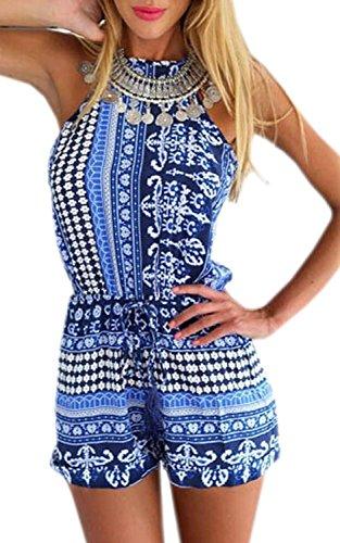 Minetom Damen süß Sexy Sommer Ärmellos blume Overall Damen sexy elegant Jumpsuit kurz Kleider Sommer Overall Damen sexy elegant Jumpsuit kurz Kleider (Blau EU M) -