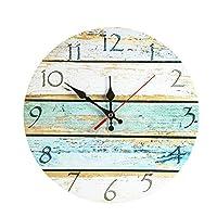 "LOHAS Home 30cm Silent Wooden Round Wall Clock, 12"" Vintage Design (Coast Road)"
