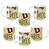 Christmas Gifts HomeSoGood December Christmas Collage White Ceramic Coffee Mug - 325 Ml (Set Of 6)
