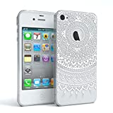 EAZY CASE Apple iPhone 4 / 4S Schutzhülle Silikon Mandala Design Slimcover Henna, Handyhülle, TPU Hülle/Soft Case, Silikonhülle, Backcover, indische Sonne, transparent, Weiß