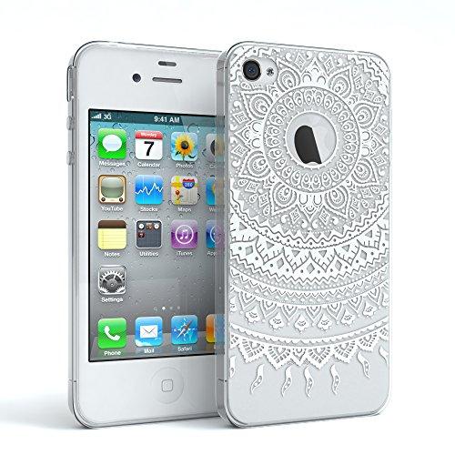 Apple iPhone 4 / 4S Schutzhülle Silikon Mandala Design I von EAZY CASE I Slimcover Henna, Handyhülle, TPU Hülle / Soft Case, Silikonhülle, Backcover, indische Sonne, transparent, Weiß