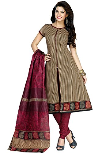 Shaily Retails Women\'s Beige Cotton Printed Unstitched Dress Material