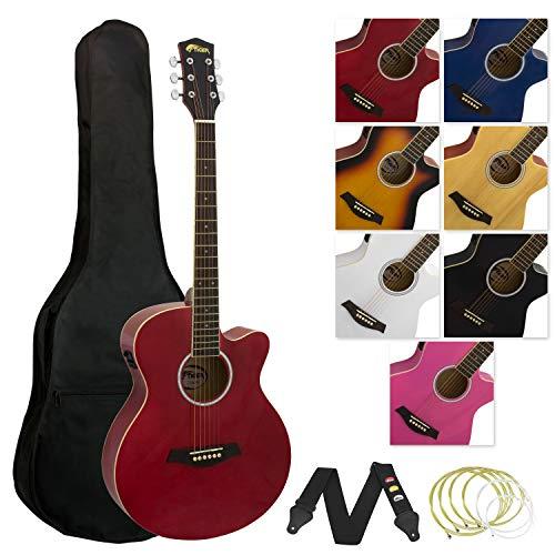 Tiger ACG4-RD Elektro-Akustische Gitarre-Set - Rot