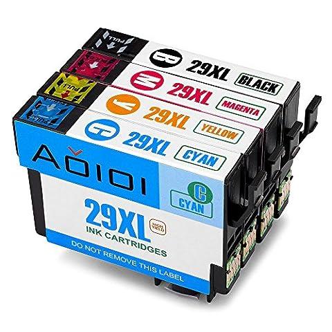 Aoioi Kompatibel Tintenpatronen Ersatz für Epson 29XL 29 (1 Schwarz, 1 Blau, 1 Rot und 1 Gelb) 4er-Pack für Epson XP-342 XP-332 XP-345 XP-442 XP-445 XP-432 XP-247 XP-335 XP-235 XP-245 XP-435 XP-330 XP-430