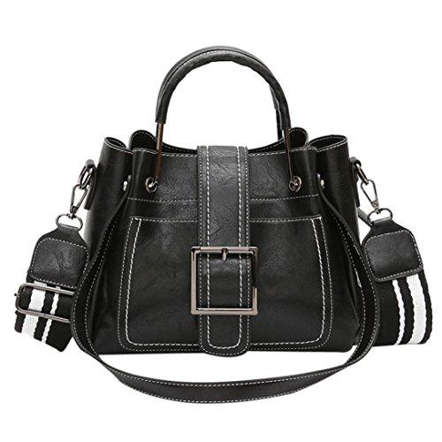 Verrückte Rabatt-Saison UFACE Lady Vintage Leder Eimer Messenger Schulter Bag Retro Damen Schultertasche Mit Corssbody Tasche & Handtasche (Schwarz) -
