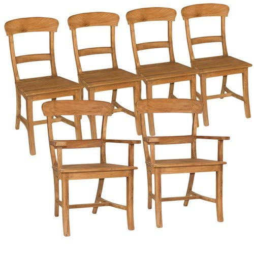 casamia Stuhl-Set Tanja 2X mit Armlehne 4X ohne Armlehne Teakholz gebürstet unbehandelt Kissen ohne Sitzkissen