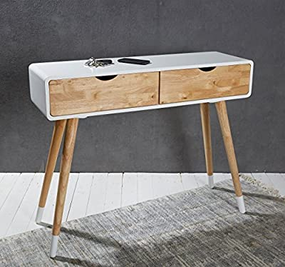 Console table white dressing table dresser sideboard 39.3 x 11.8 x 31.5 inch scandinavian retro style with 2 drawers - cheap UK light shop.