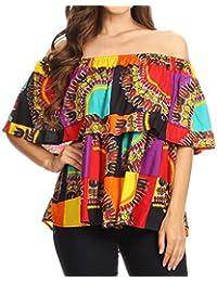 Sakkas Azra Blusa con Hombros Descubiertos Dashiki de Colores Divertidos de África Top Flowy and Fun!