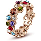 Yoursfs Prosperous Dazzling Multi-Color Crystal Art Deco 18K Rose Gold Band Bridal Wedding Gift Ring