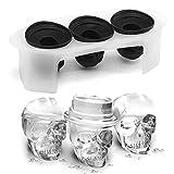 Aolvo - Molde de silicona reutilizable para hacer bolas de hielo en forma de calavera 3D, flexible y sin BPA para whisky helado, cóctel, té y limonada, apto para lavavajillas (negro)
