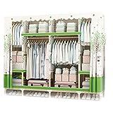 GUHAIBO Textilschrank Schrank,kleiderschrank stoffschrank Speicherorganisator,Schranksysteme für Schlafzimmer Holz,einfach und elegant,E_200x45x175cm