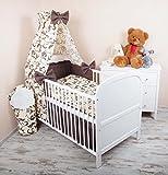 Amilian® Baby Bettwäsche 5tlg Bettset mit Nestchen Kinderbettwäsche Himmel 100x135cm Retro braun Vollstoffhimmel