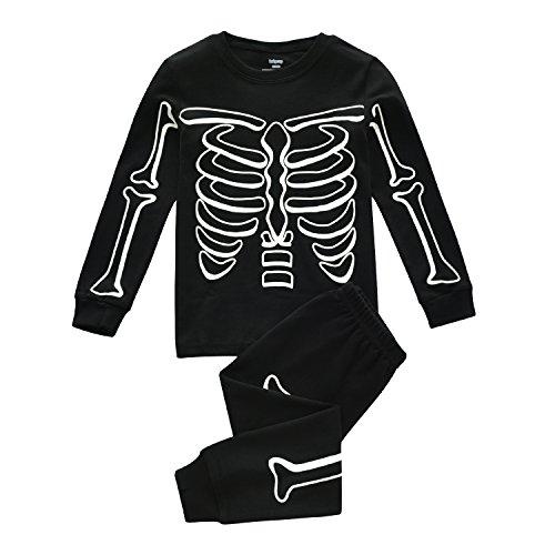 Superstar88 Kinder Kleiden Leuchtende Skeletts Druck Halloweenkleid Bekleidungssets Ein Voller Hingucker (Für Körpergröße (Skelett Kostüme The Dark Glow Halloween In)