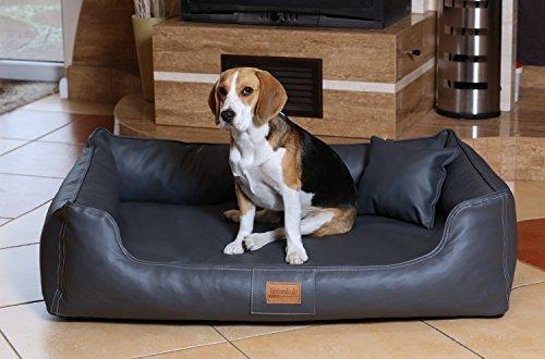 tierlando® Hundebett Maddox VITAL Komfort-Matratze in Kunstleder Hundesofa Hundekorb Gr. L 100 cm GRAPHIT - MN4-LL-02
