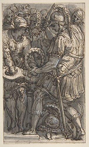 Perino del Vaga - Alexander Cutting the Gordian Knot Study for a Fresco in the Castel SantAngelo Rome Kunstdruck (45,72 x 60,96 cm)