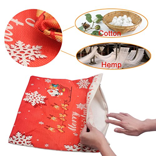 Merry Christmas Throw Pillow Cover 3 Pack, edealing Cotton Linen Pillowcase Home Decorative Cushion Cover for Sofa Couch Santa Claus, Christmas Winter Deer, Christmas Tree, Red, 18″ x 18″