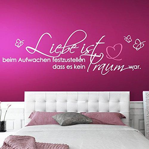 Wandtattoo-Günstig G023 Zitat Liebe ist... mit Schmetterling + Herz Wandaufkleber Wandsticker Schlafzimmer silbergrau (BxH) 185 x 58 cm