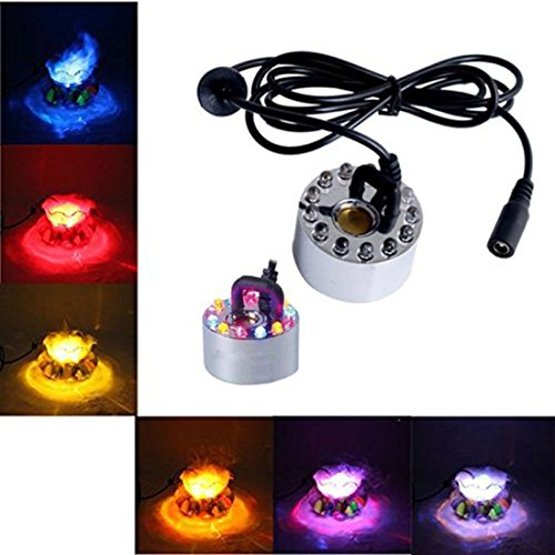 SJ 12 LED Mist Maker Aquarium Decor Fog Smoke Machine Water Fountain Fogger Water Fountain Pond Light -01