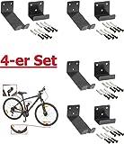4 Stück----Fahrrad-Wandhalter für Pedaleinhängung mit Laufradstütze und Befestigungsmaterial