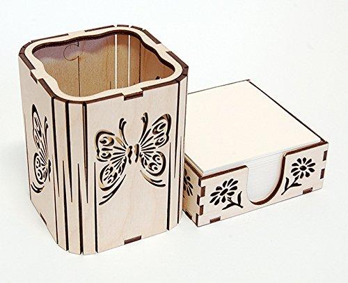 Quadratischer Stifthalter/Büro Schreibtisch Organizer und Papier Block Halter/natur Birke, Schmetterling Cut Out Design - Büro-schreibtisch, Birke