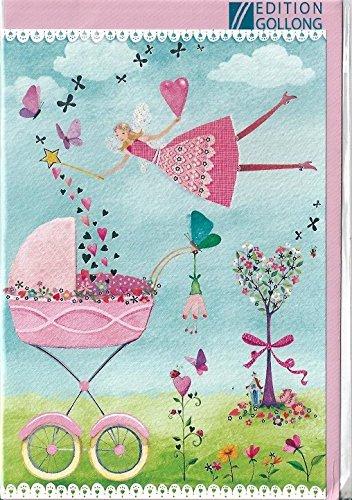 Glückwunschkarte zur Geburt * Mila Marquis * Elfe mit Kinderwagen