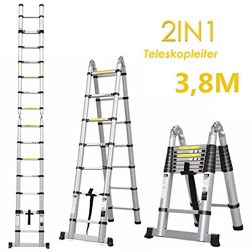 FEMOR 3.8M Alu Klappleiter und Teleskopleiter mit erweiterter Grundlage Aluleiter Sprossenleiter Schiebeleiter Klappleiter (3.8M mit Standfuß)) Test