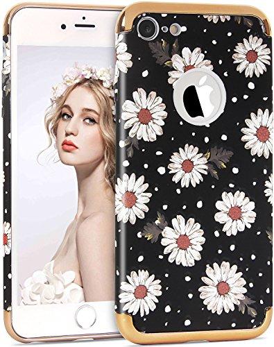 iPhone 7 Blumen Hülle, Imikoko iPhone 7 Elegant 3D Blumenmuster 3 in 1 Rundumschutz Reliefmalerei Slim Hard Hart PC Schutzhülle Back Case Cover für Girl Frauen Mädchen Muster 3