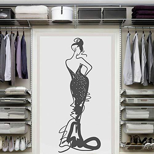 jiuyaomai Frau Vinyl Wandaufkleber Kleidung Schaufenster Dekoration Malerei Salon Home Schlafzimmer Dekoration Malerei 42x114 cm