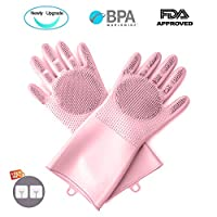 YGZN New Upgrade Magic Washing Up Gloves,Reusable Multifunctional Silicone Household Cleaning Gloves,Heat Resistant for Kitchen, Bathroom Cleaning and Pet Hair Care, BPA Free (Pink)