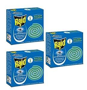 raid spirales anti moustiques et moustiques tigres lot de 3 x 10 spirales pour usage ext rieur. Black Bedroom Furniture Sets. Home Design Ideas