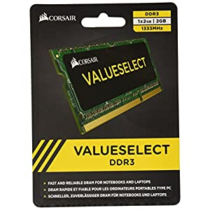 Corsair CMSO2GX3M1A1333C9 Value Select 2GB (1x2GB) DDR3 1333 Mhz CL9 Mainstream Notebook Memory Module -Green / Black