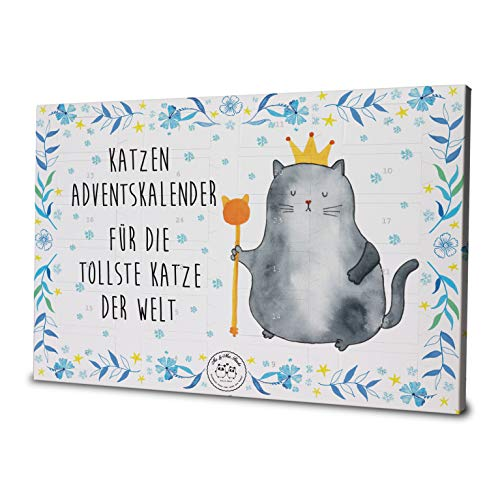 Mr. & Mrs. Panda Kalender, Weihnachten, Katzen Adventskalender Katzen König Weihnachtszeit mit Spruch - Farbe