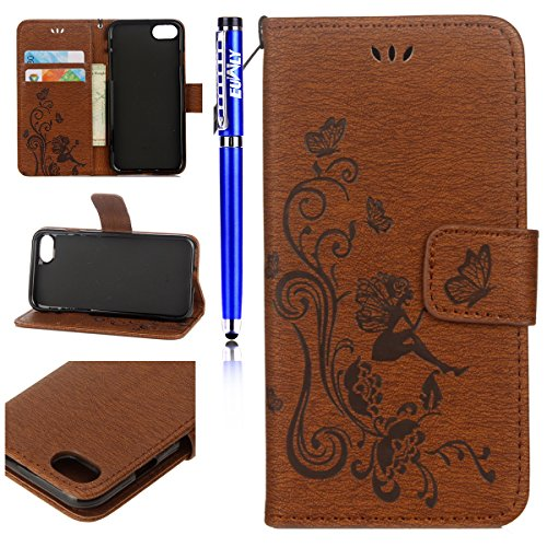 Cover per iPhone 5S/iPhone SE, EUWLY Portafoglio Custodia in Pelle Protettiva Cover Case Per iPhone 5S/iPhone SE Premium Retro Morbido PU Leather Wallet Cover Supporto Stand Fuction Chiusura Magnetica Marrone