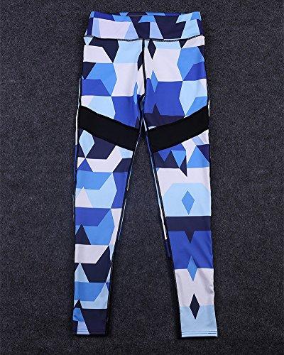 Femme Impression de motif géométrique Pantalon de course à pied Pantalon de sport respirant Pantalon de Yoga Fitness Taille haute Pantalon de jogging As Picture