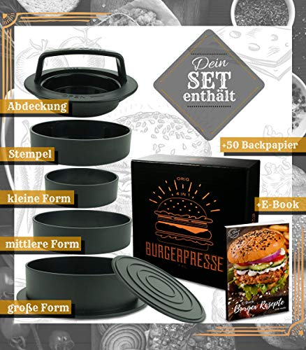 51UZBMMRCbL - Le Flair XXL Burgerpresse-Set 4 in 1 -NEUES Modell 2019- mit E-Book | Burger Pattie Presse für Hamburger ideales Grillzubehör BBQ mit Backpapier Patty Maker Burger zum Grillen | Deutsche Marke