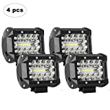 AAIWA LED Light Bar, LED Luci da Lavoro 4PCS 4 Pollici 60W LED Pods Fendinebbia per Fuoristrada, Camion, Auto, ATV, SUV (4Pcs 60W Combo Lights)