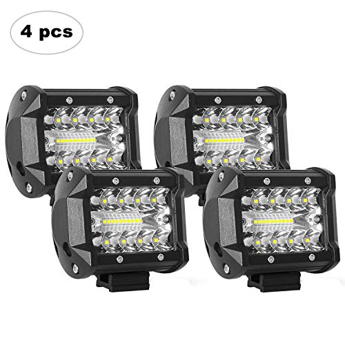 AAIWA LED Light Bar, LED Luci da Lavoro 4PCS 4 Pollici 60W LED Pods Fendinebbia per Fuoristrada, Camion, Auto, ATV, SUV, 2 Anni di Garanzia (4Pcs 60W Combo Lights)